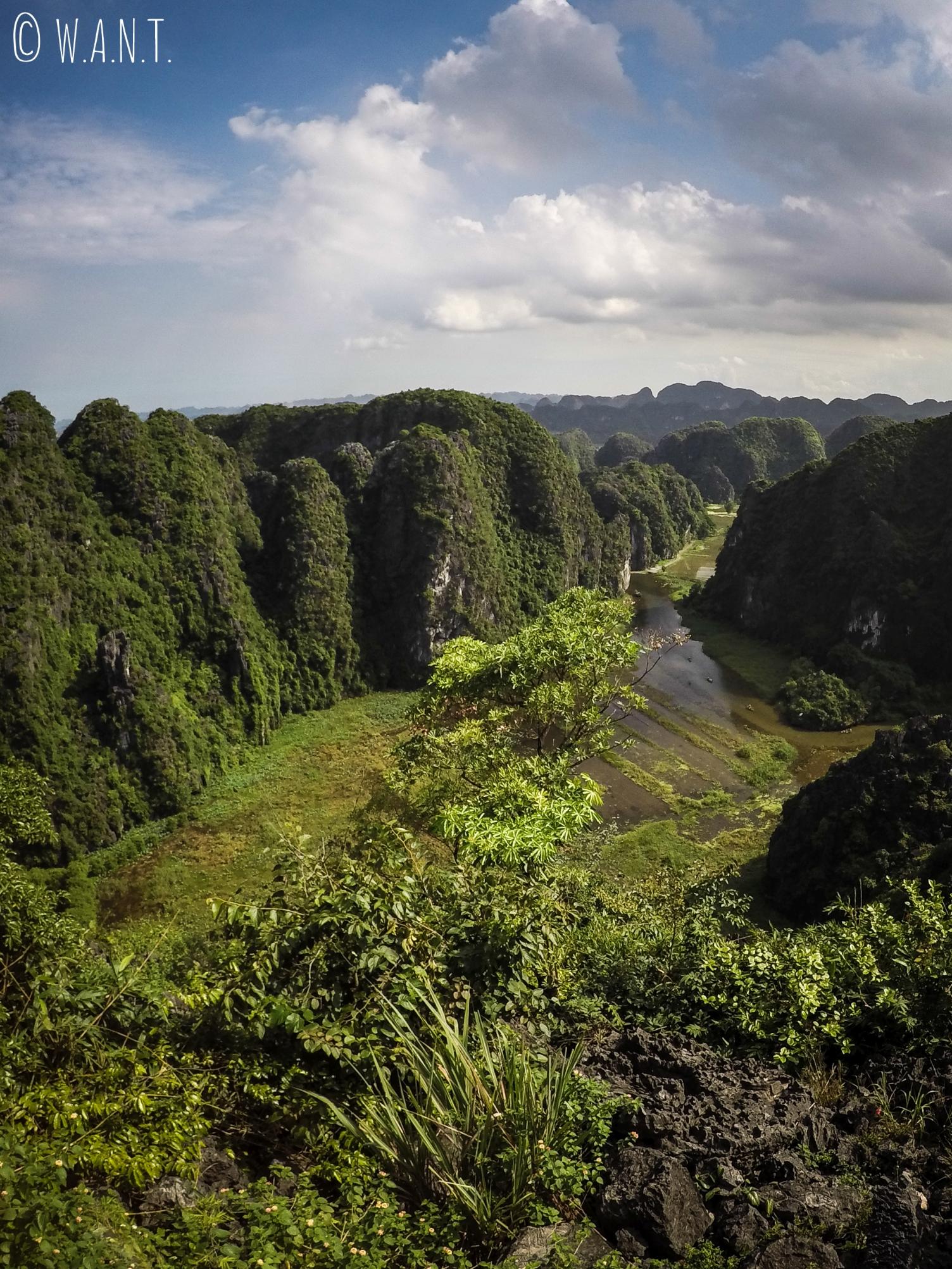 Vue sur la baie d'Ha Long terreste depuis le point de vue de Mua Caves à Tam Coc