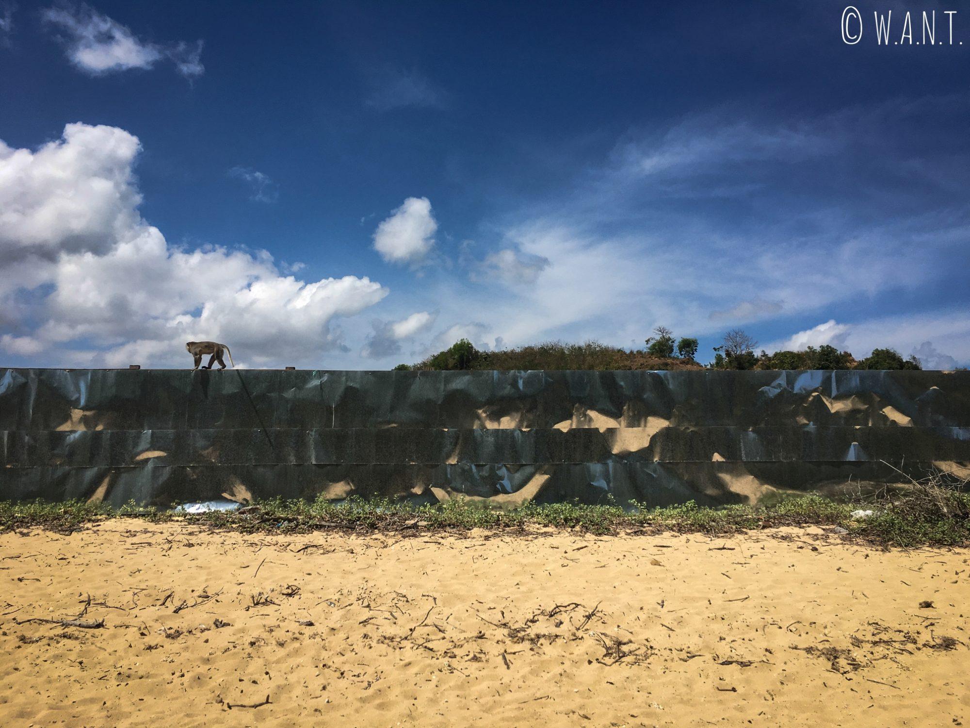 Chantier encerclé par des plaques métalliques sur la plage de Kuta Lombok