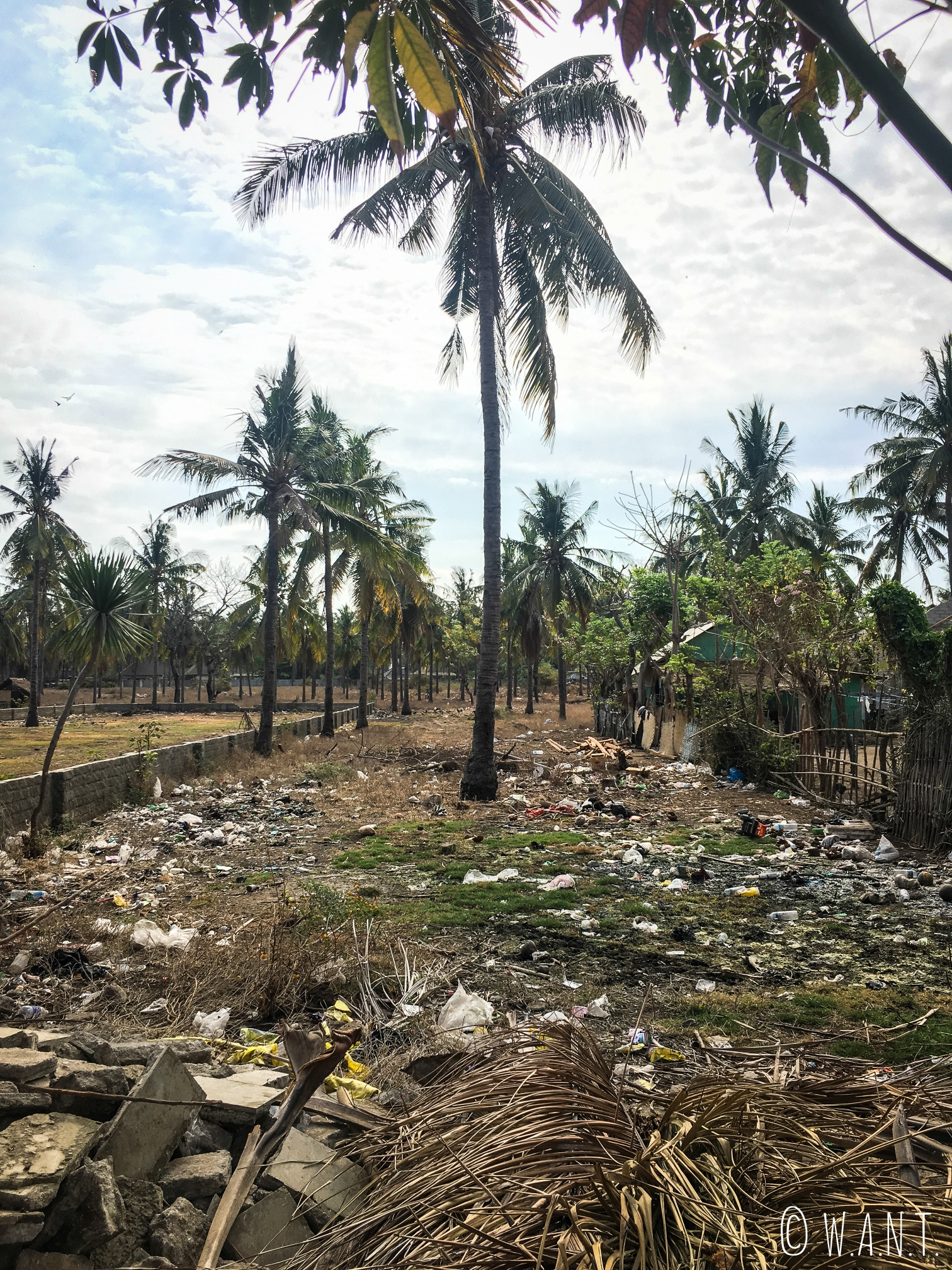 Emplacement encore non-construit sur Gili Trawangan servant de décharge