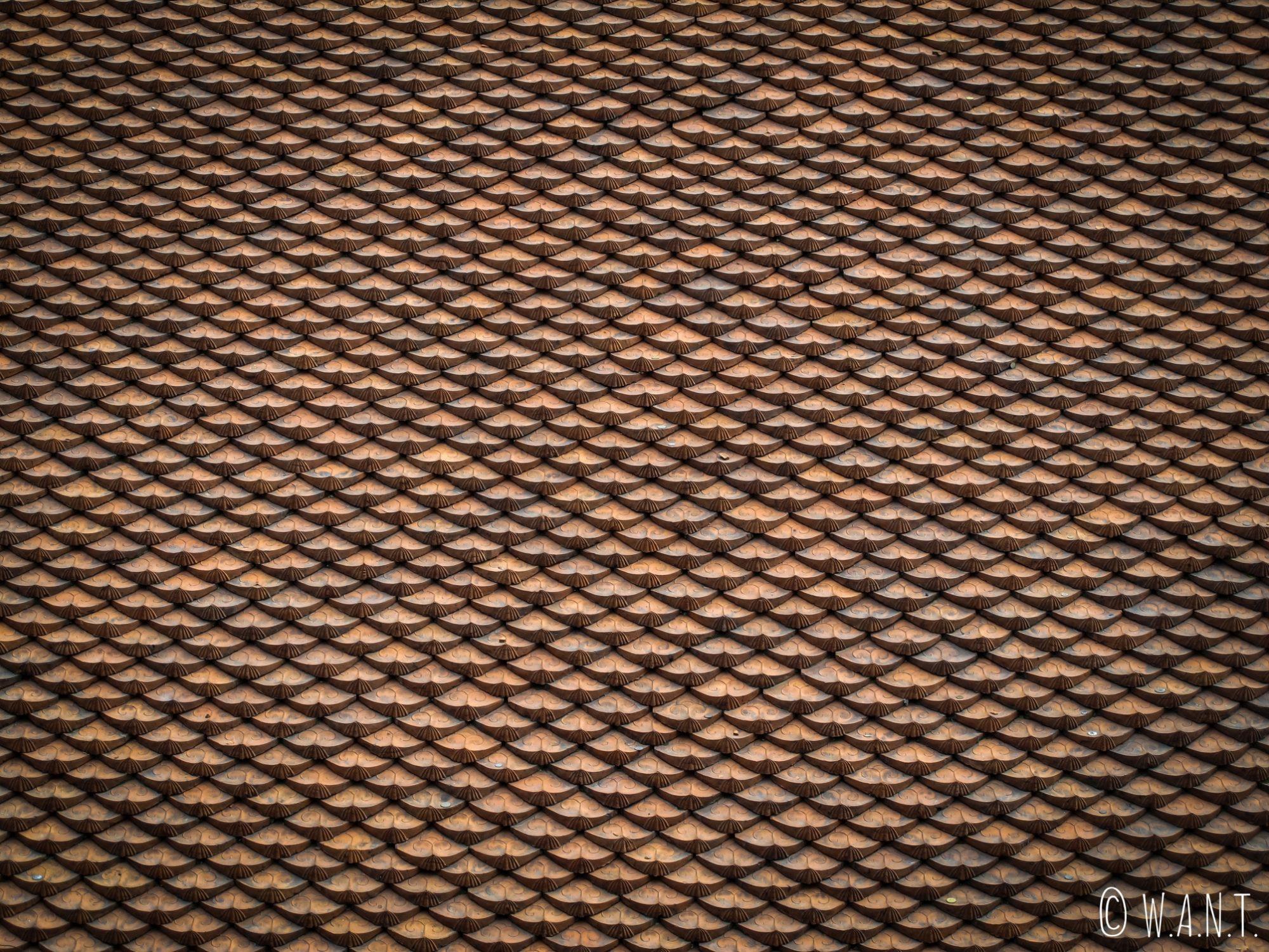Gros plan sur les tuiles du toit du Temple de la Littérature à Hanoï