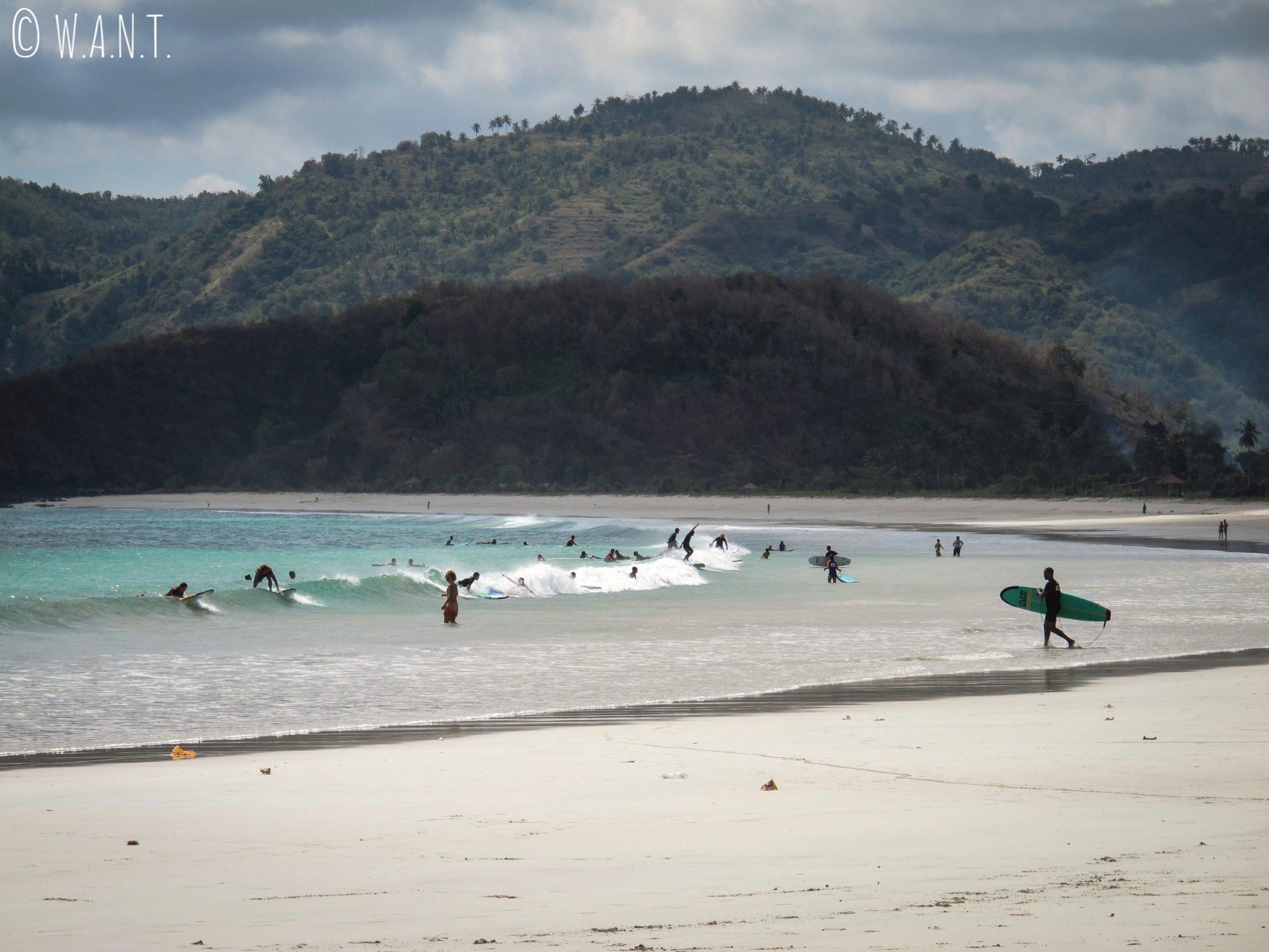 Surfeurs débutants sur la plage de Selong Belanak à Lombok