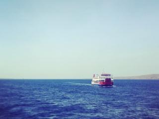 Vue depuis le ferry rejoignant l'île de Bali à l'île de Java