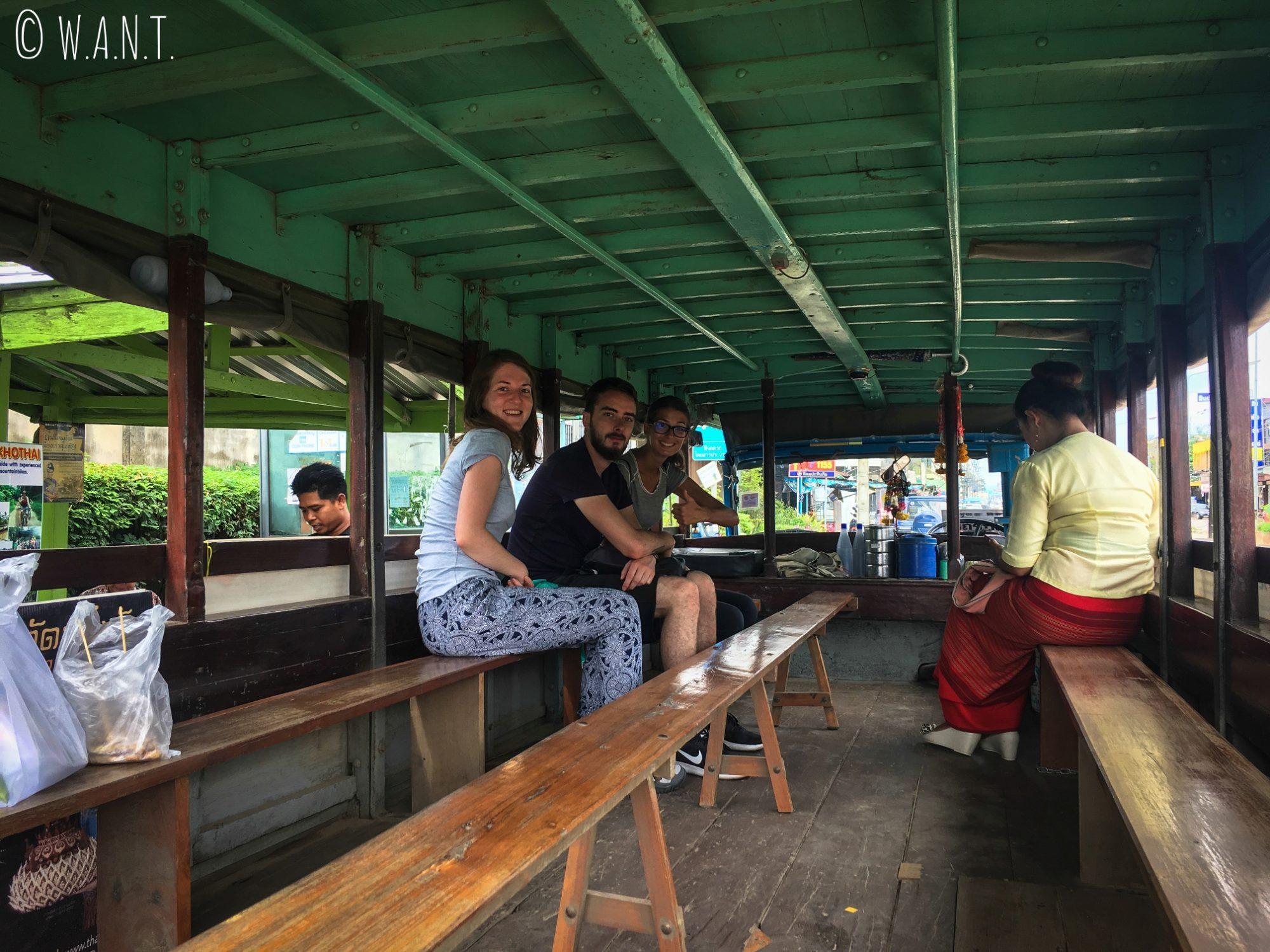 À l'intérieur de la navette nous conduisant de New Sukhothai à Old Sukhothai