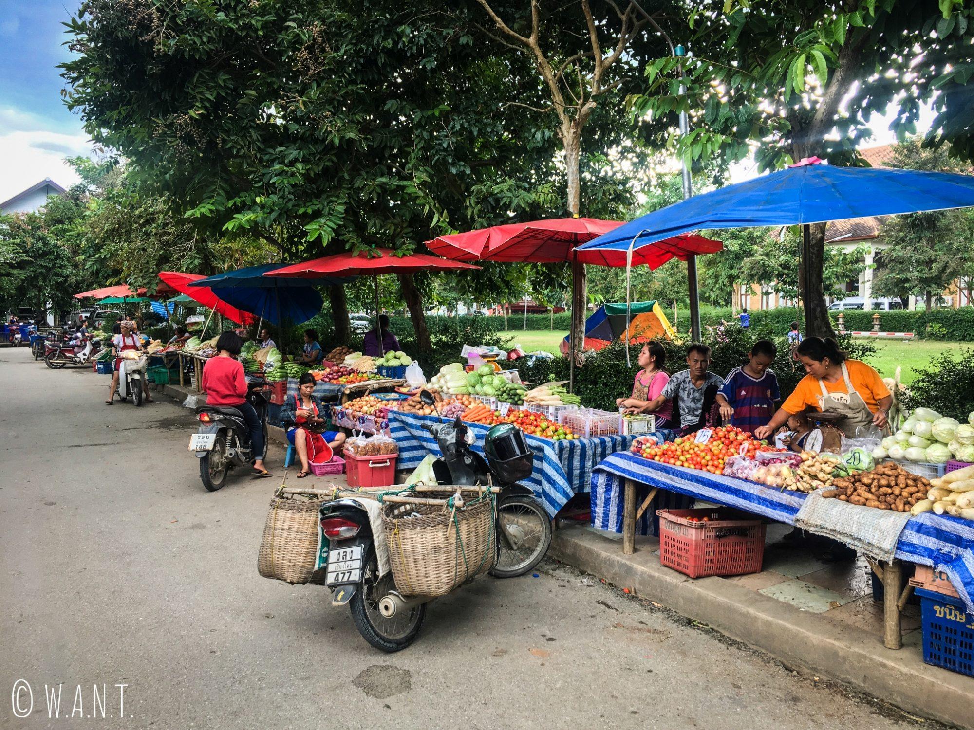 Étals de fruits et légumes du marché local de Pai
