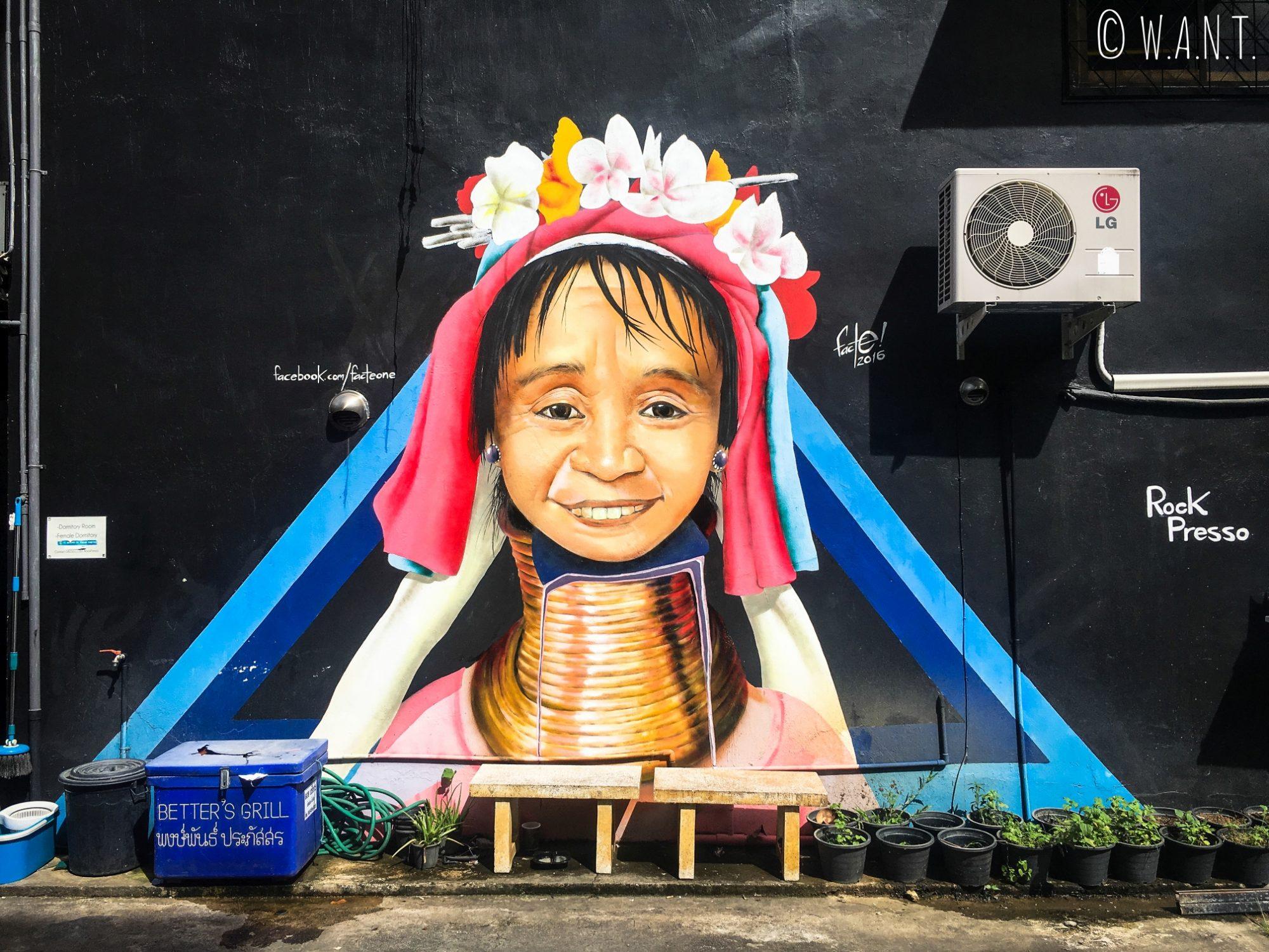 Art de rue représentant une femme girafe à Chiang Mai