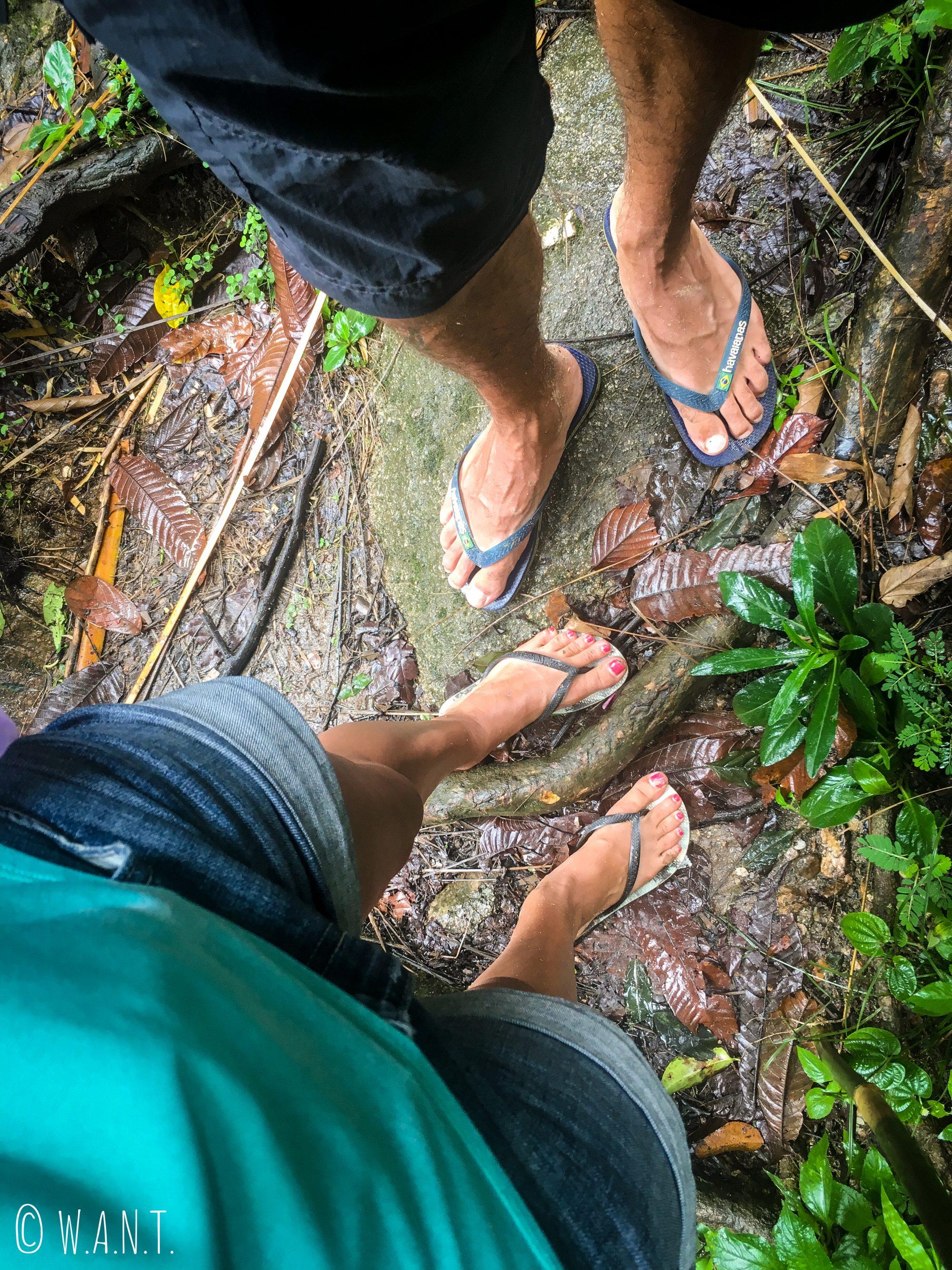 Autre défi réalisé, marcher une demi-journée de trek en tongs à Chiang Rai