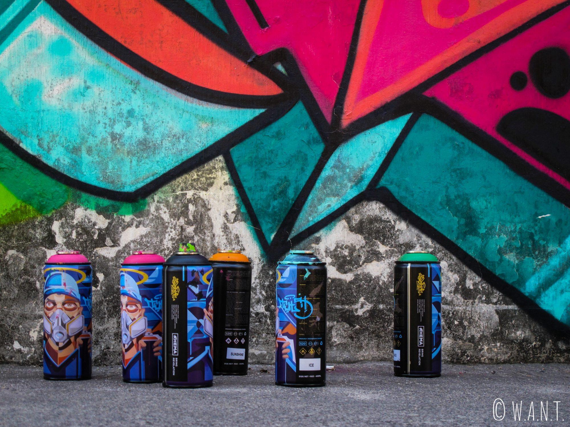 Bombes de peinture pour art de rue à Yogyakarta