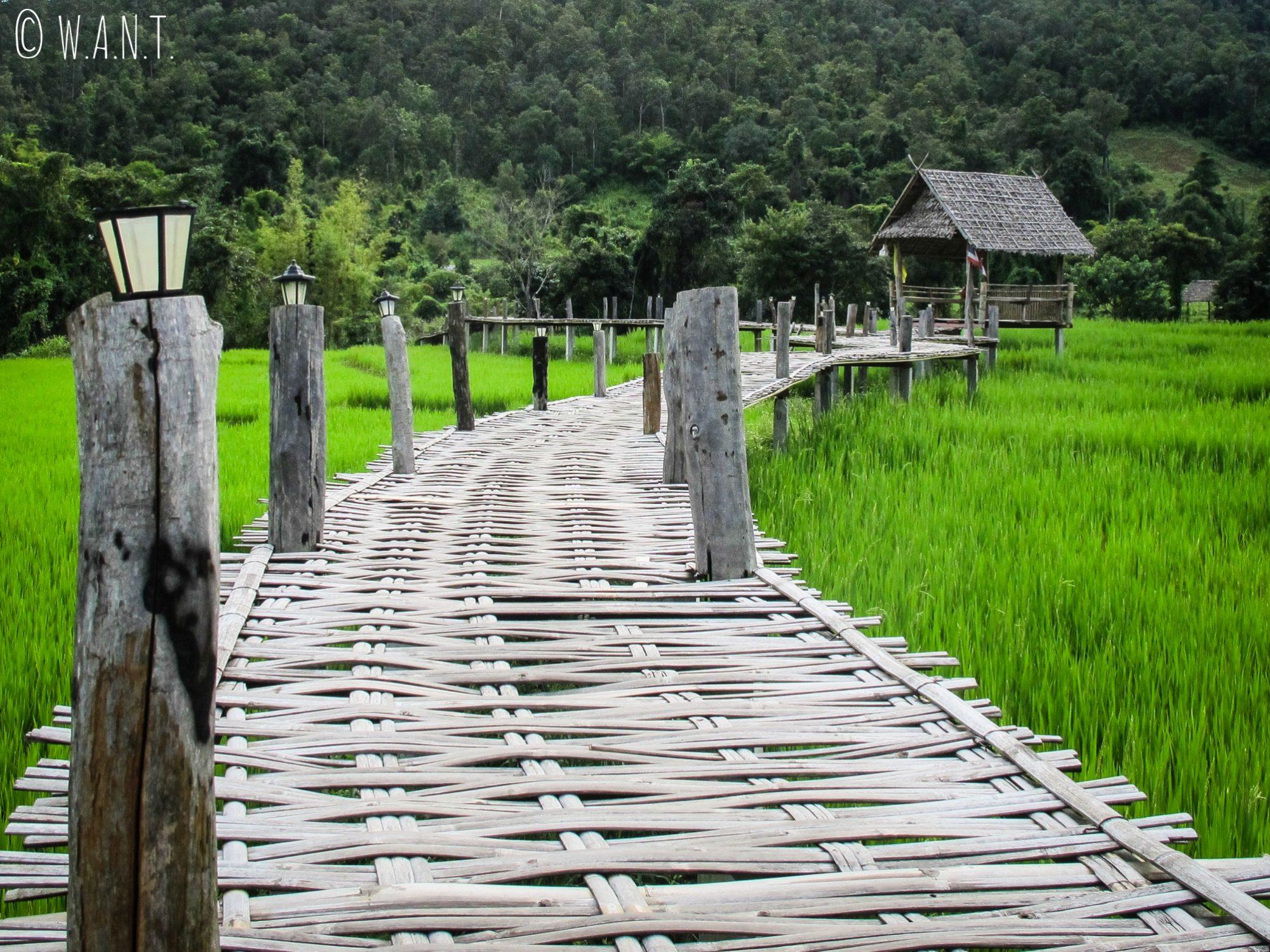 Des petites cabanes installées le long du Bambou Bridge de Pai permettent de comtempler le paysage