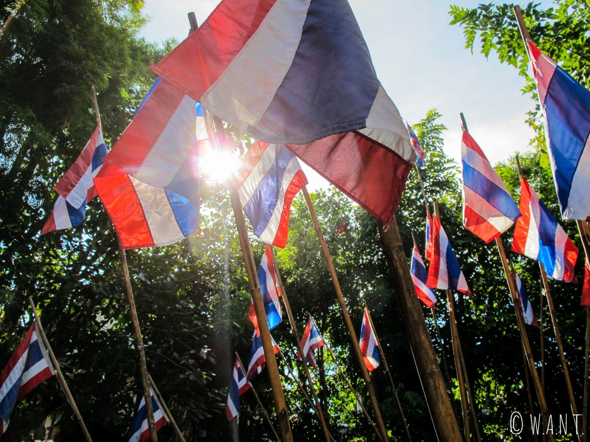 Drapeaux thaïlandais dans le jardin du Wat Phan Tao de Chiang Mai