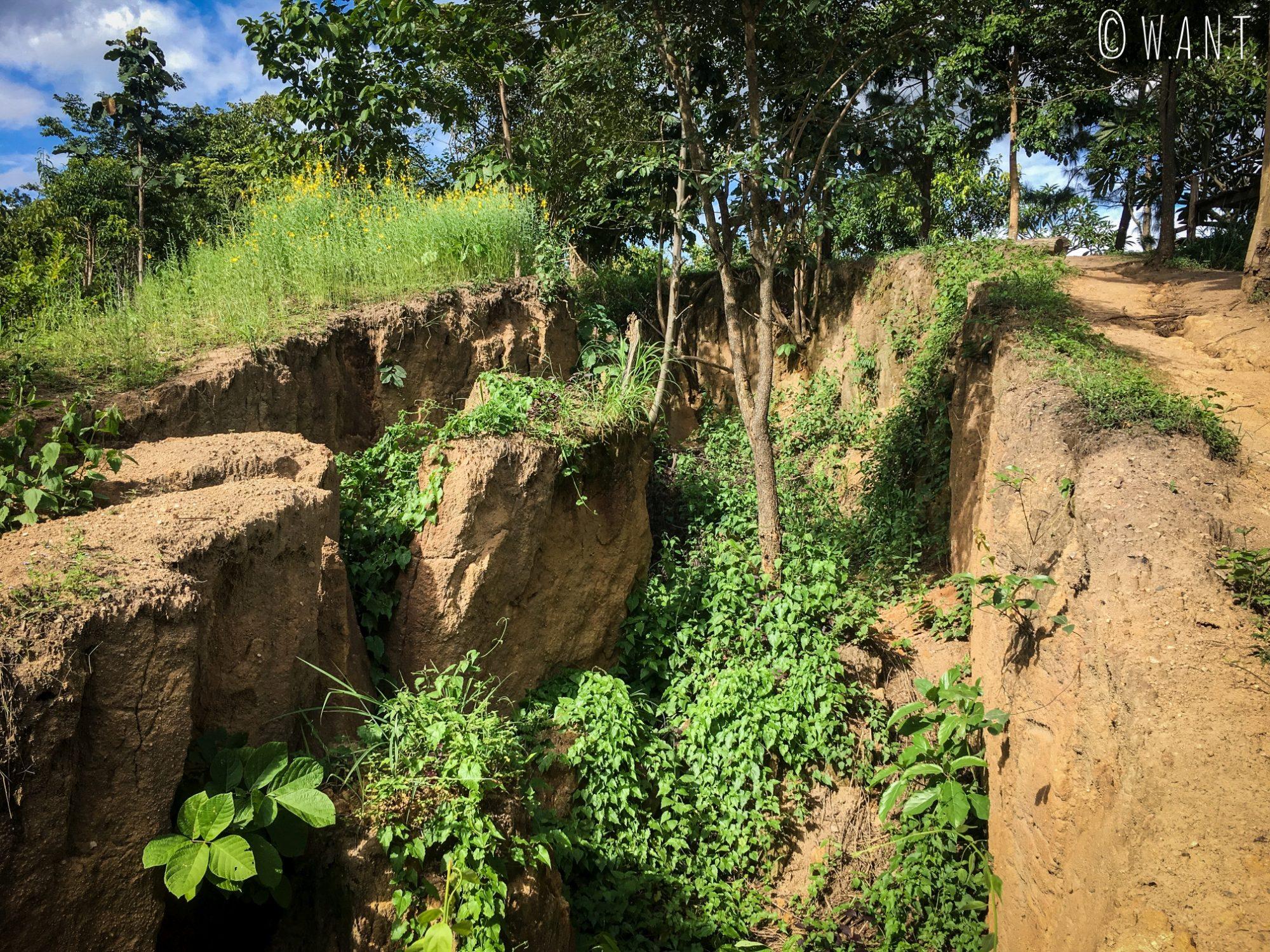 Faille sismique que nous avons observée au Land Split de Pai