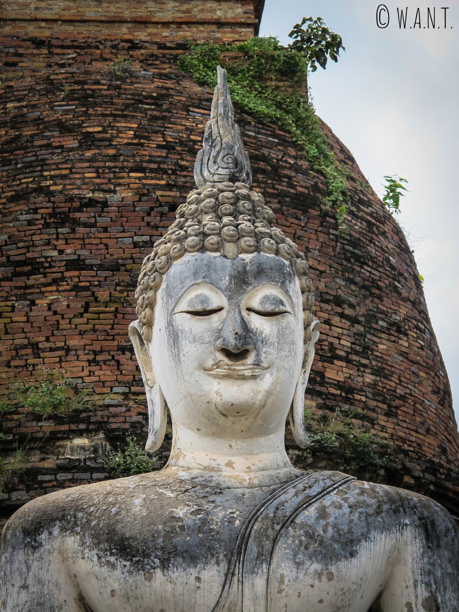 Gros plan sur le Bouddha du Wat Sa Si à Sukhothai