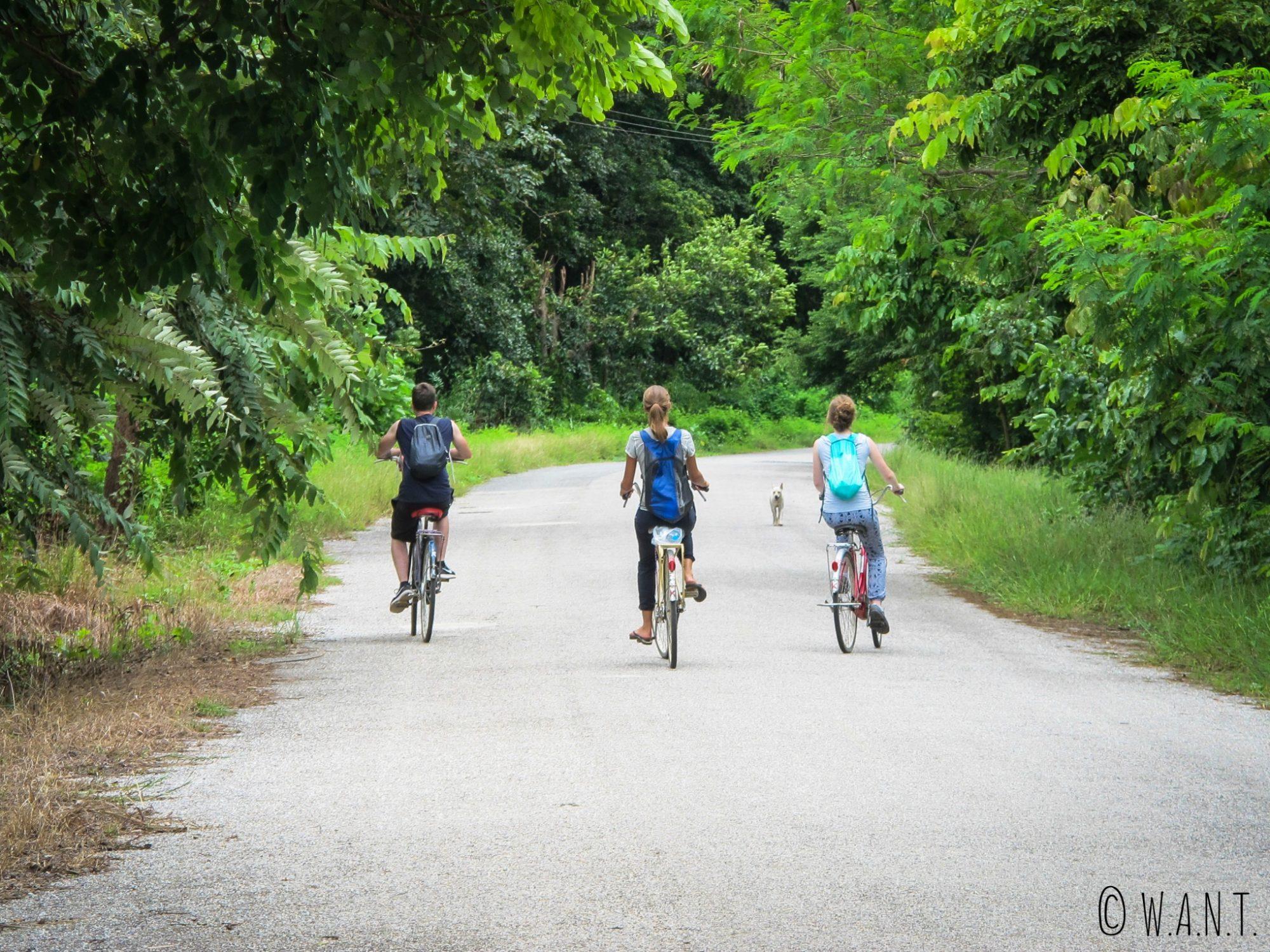 Margaux, Marion et Thomas en vélo dans le parc historique de Sukhothai