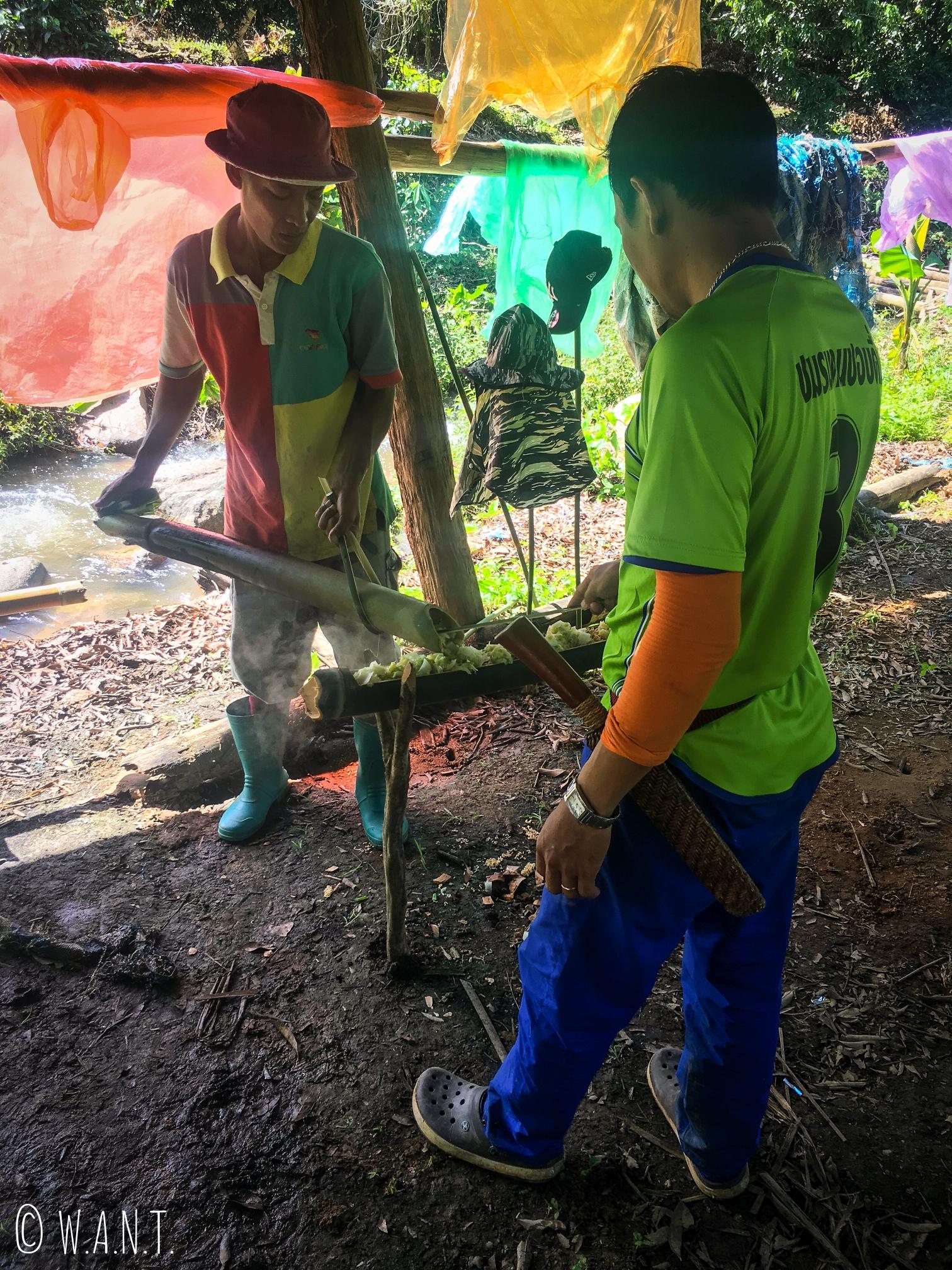 Préparation du barbecue en bambou pendant notre trek à Chiang Rai