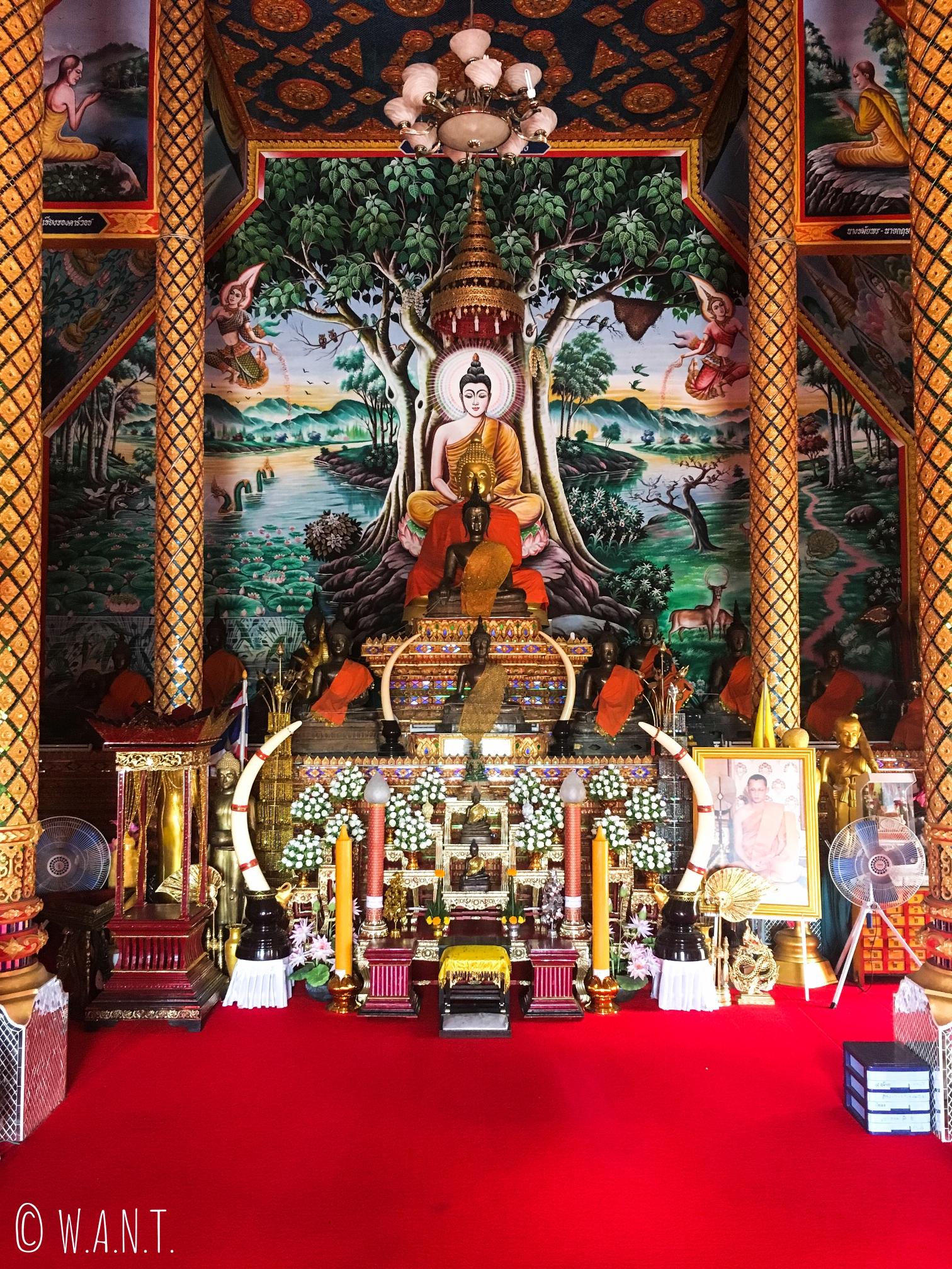 Représentation de Bouddha à l'intérieur du Wat Luang Chan de Chiang Khong