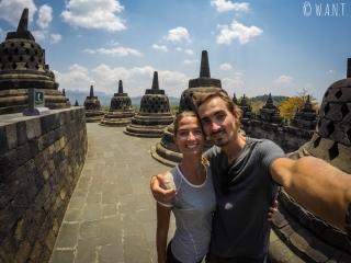 Selfie au temple de Borobudur