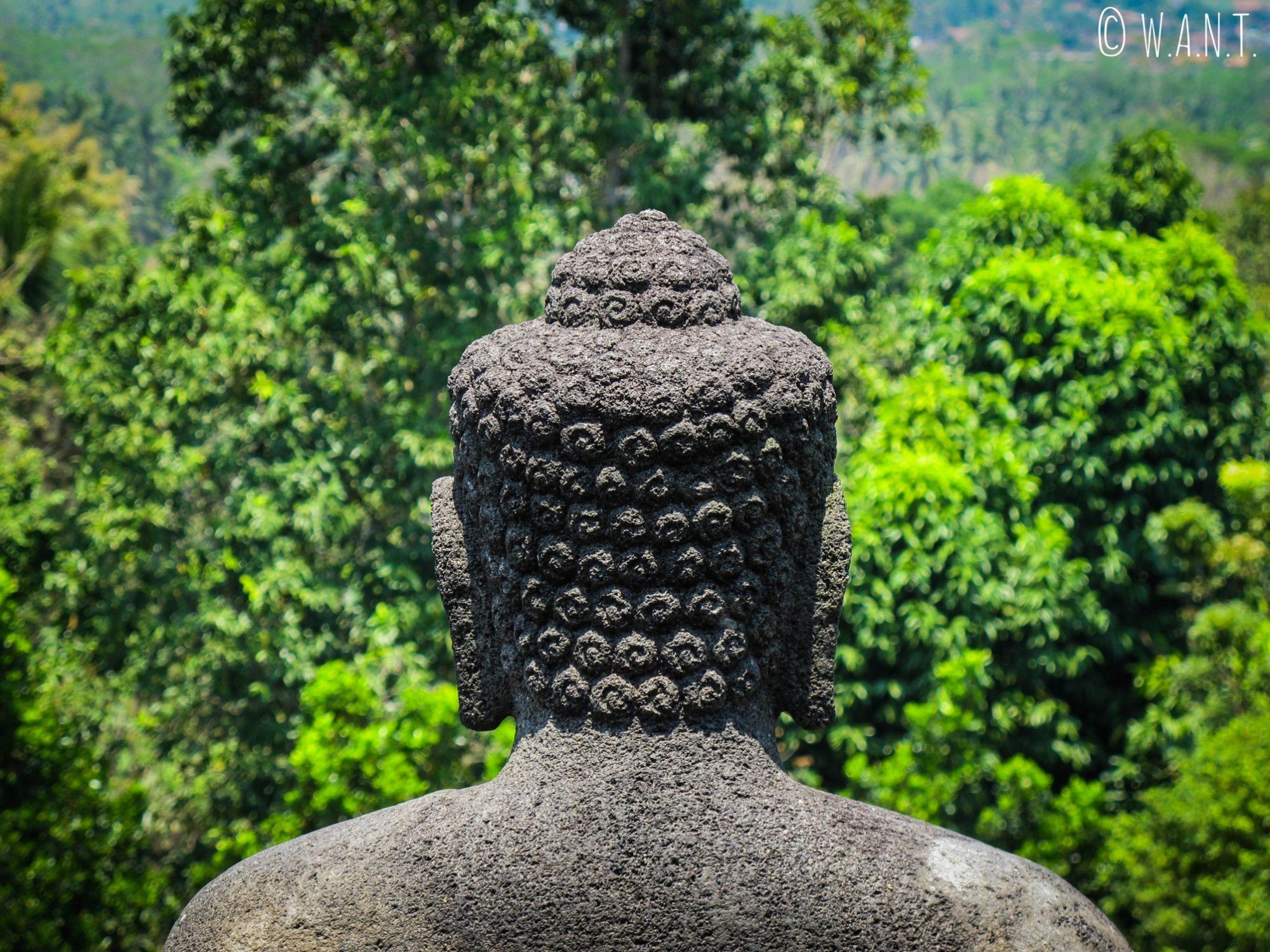 Statue de dos de Bouddha au temple de Borobudur