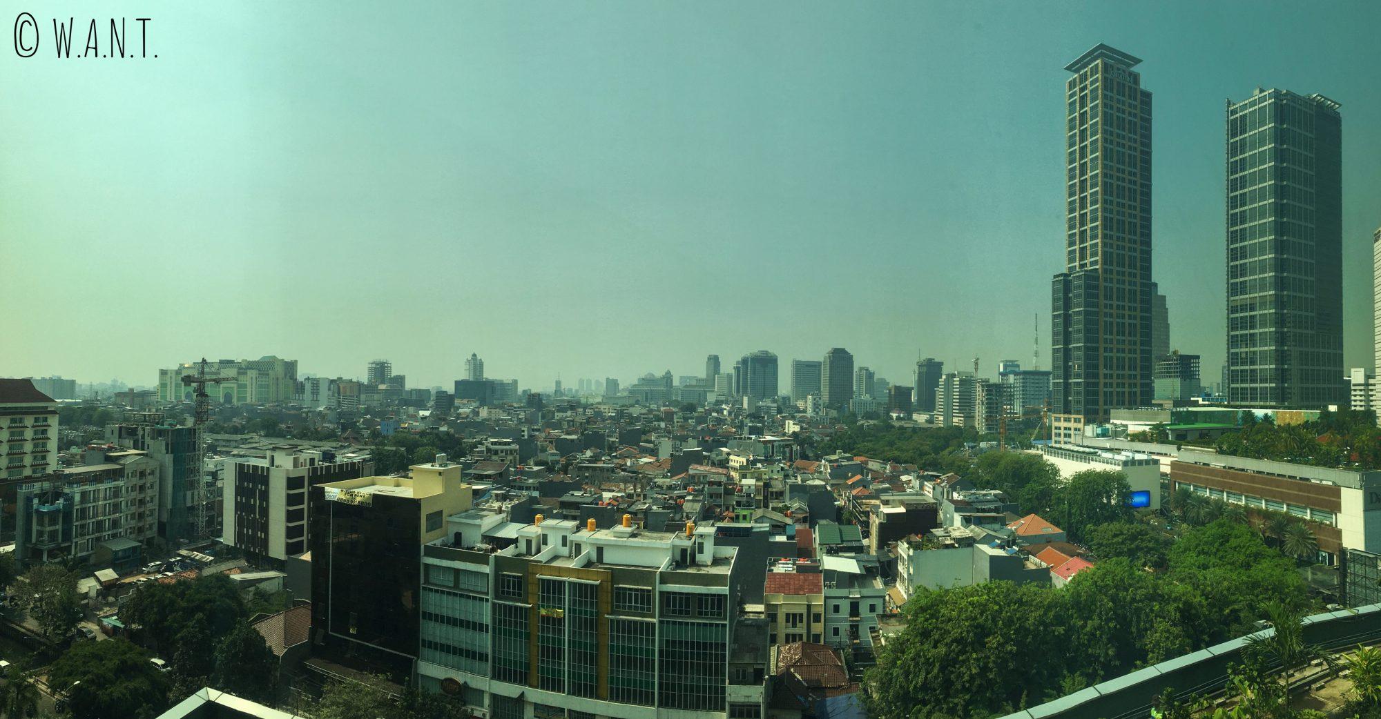 Vue panoramique depuis le dernier étage du Grand Mall Indonesia de Jakarta