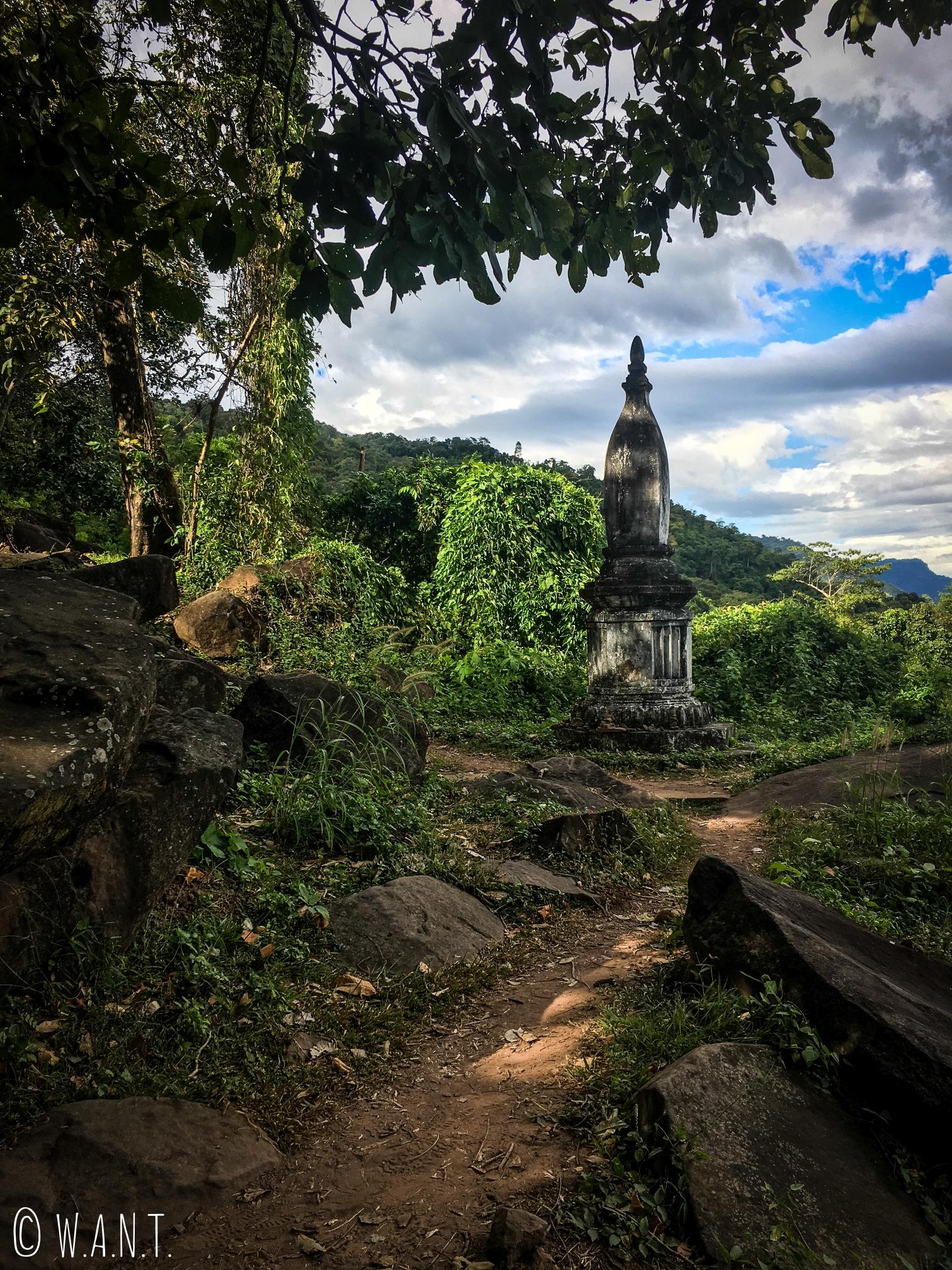 Chemin menant à l'éléphant sculpté dans une roche sur le site Unesco Vat Phou