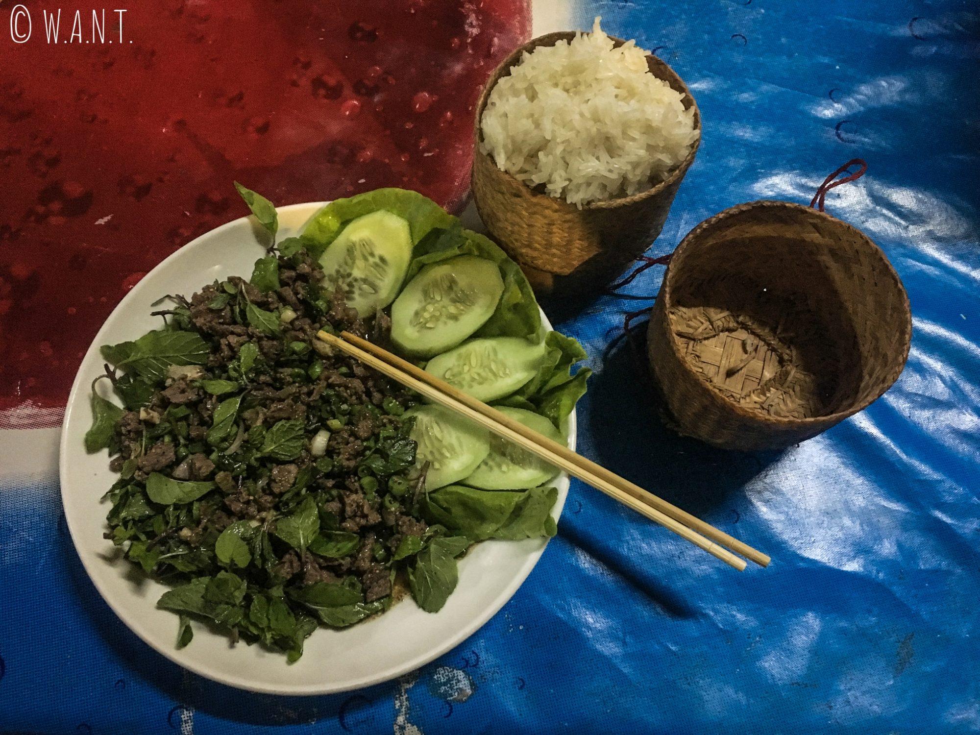 Délicieux Laap servi avec du sticky rice à Vang Vieng