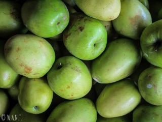 Gros plan sur des pommes sur le marché de Muang Sing