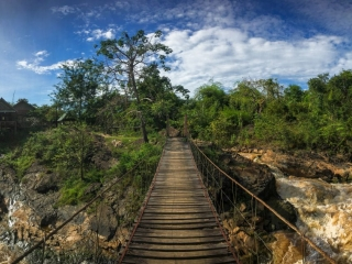Panorama depuis le pont suspendu de l'île de Don Khon à l'extrême sud du Laos