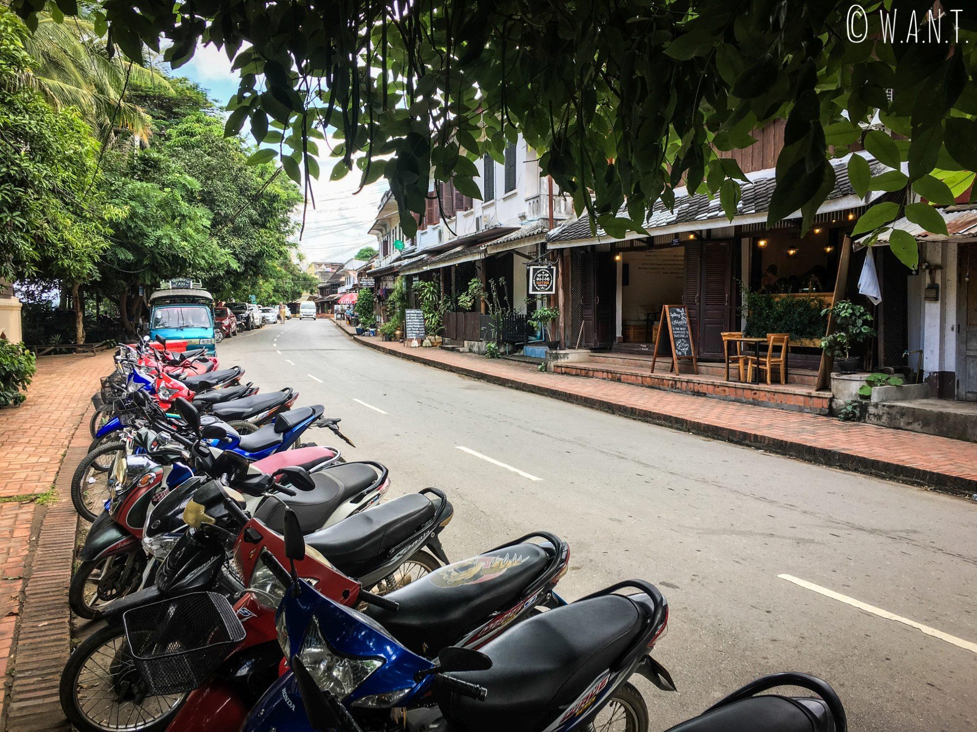 Rue longeant le Mékong à Luang Prabang