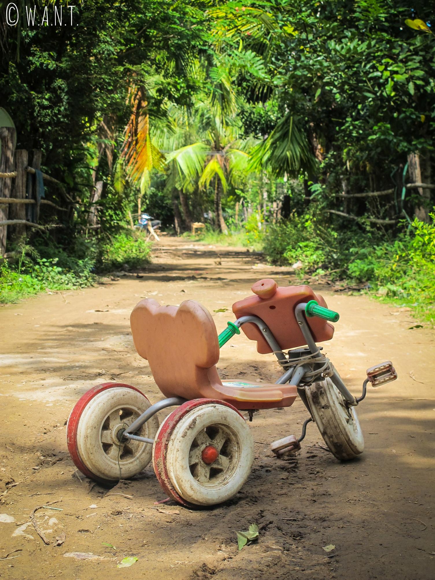 Vélo à l'abandon sur l'île de Don Khon