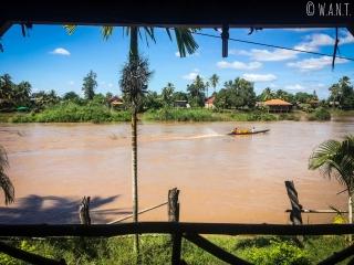 Vue depuis la terrasse de notre bungalow sur l'île de Don Khon