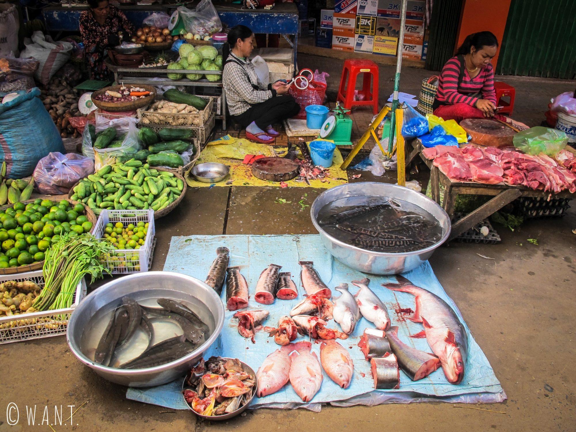 Étal de poissons sur le marché de Kratie