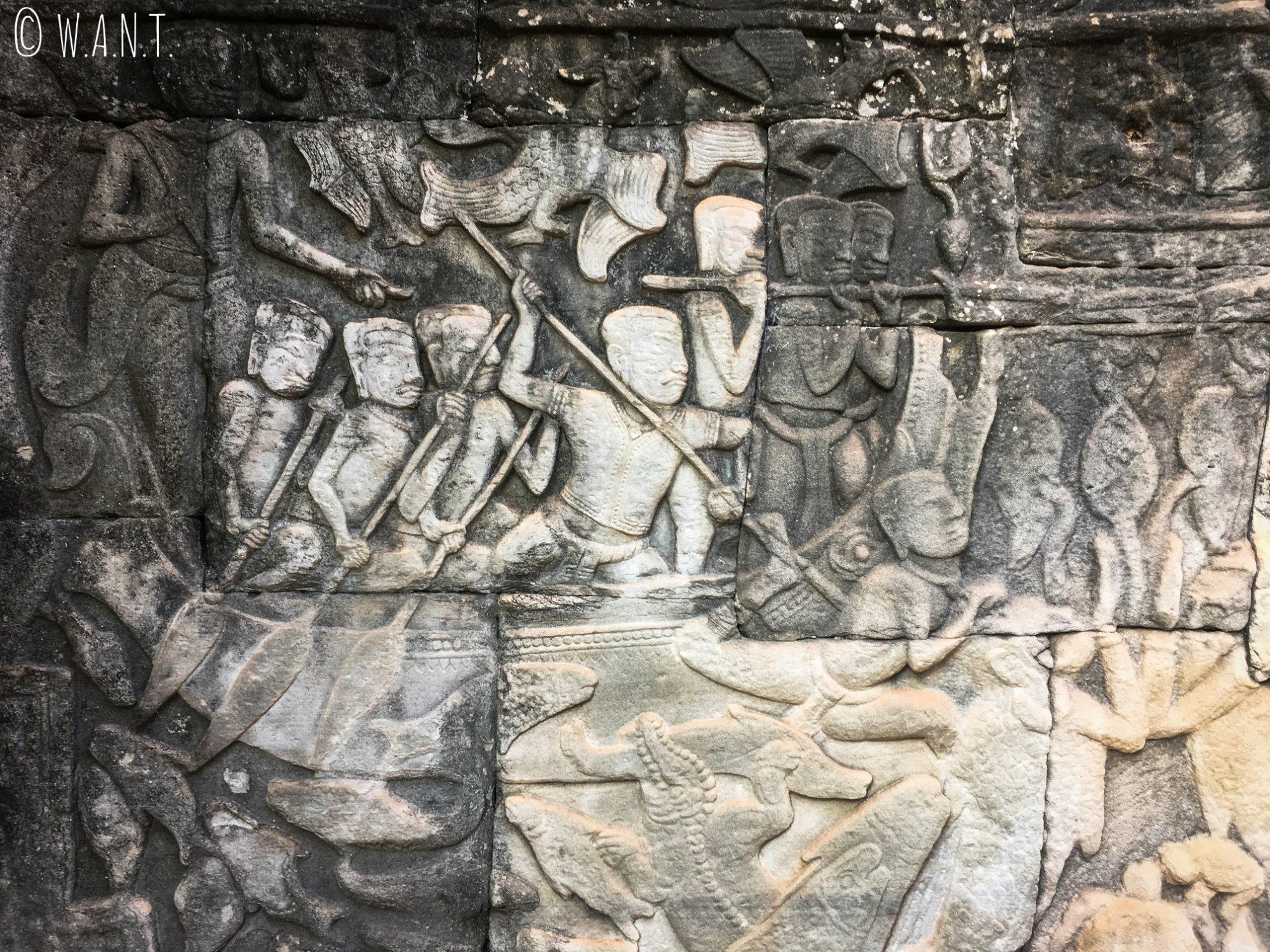 Bas-relief du temple Bayon à Angkor