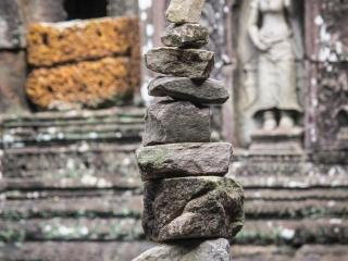 Cairn au temple Banteay Kdei d'Angkor