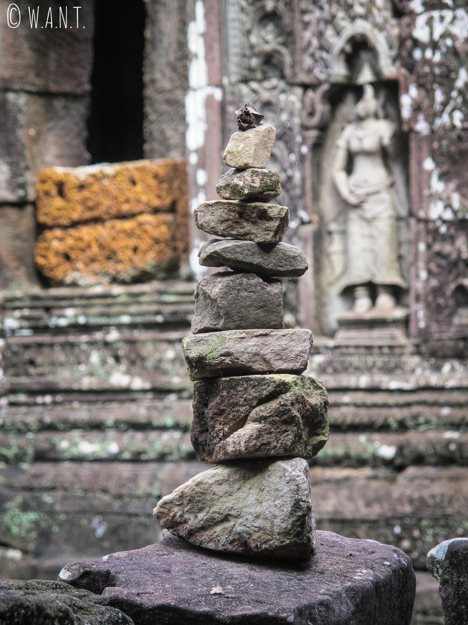 Cairn au temple Banteay Kdei d'Angkor