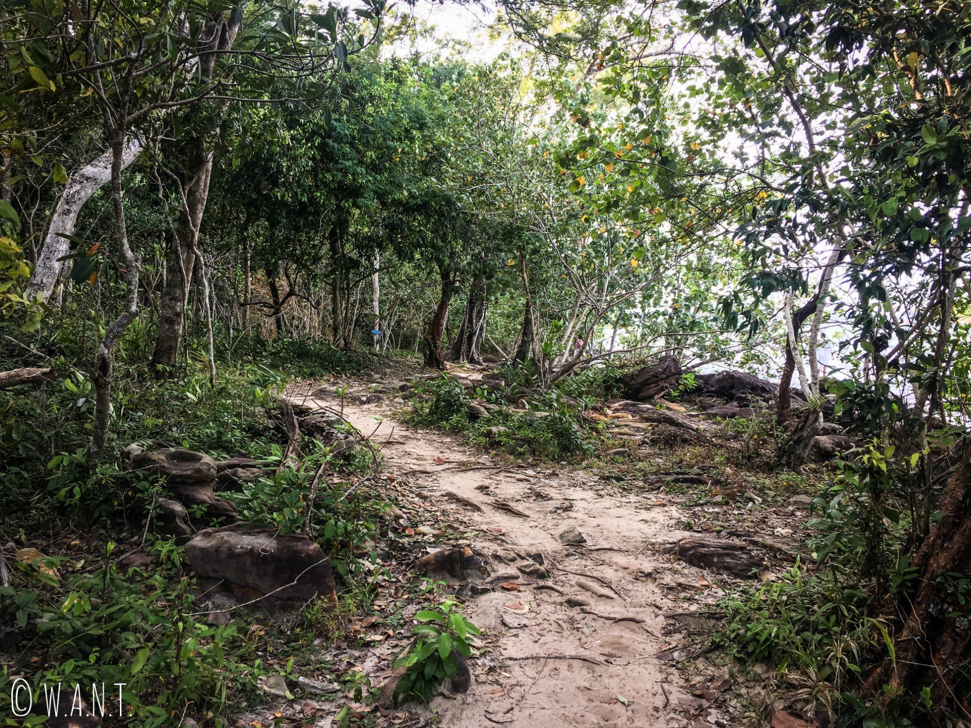 Chemin d'accès à la plage de M'Pai Bay sur Koh Rong Sanloem