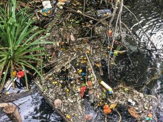 Déchets flottants à la surface de l'eau à M'Pai Bay sur Koh Rong Sanloem