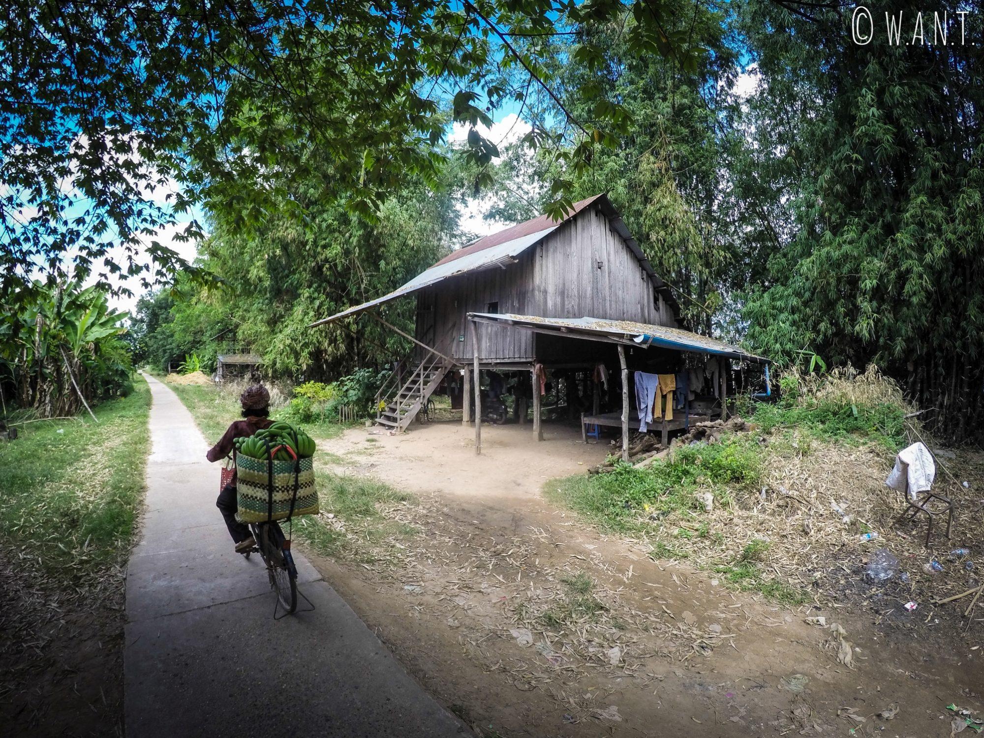 Maison sur pilotis et vendeuse de bananes sur l'île de Koh Trong