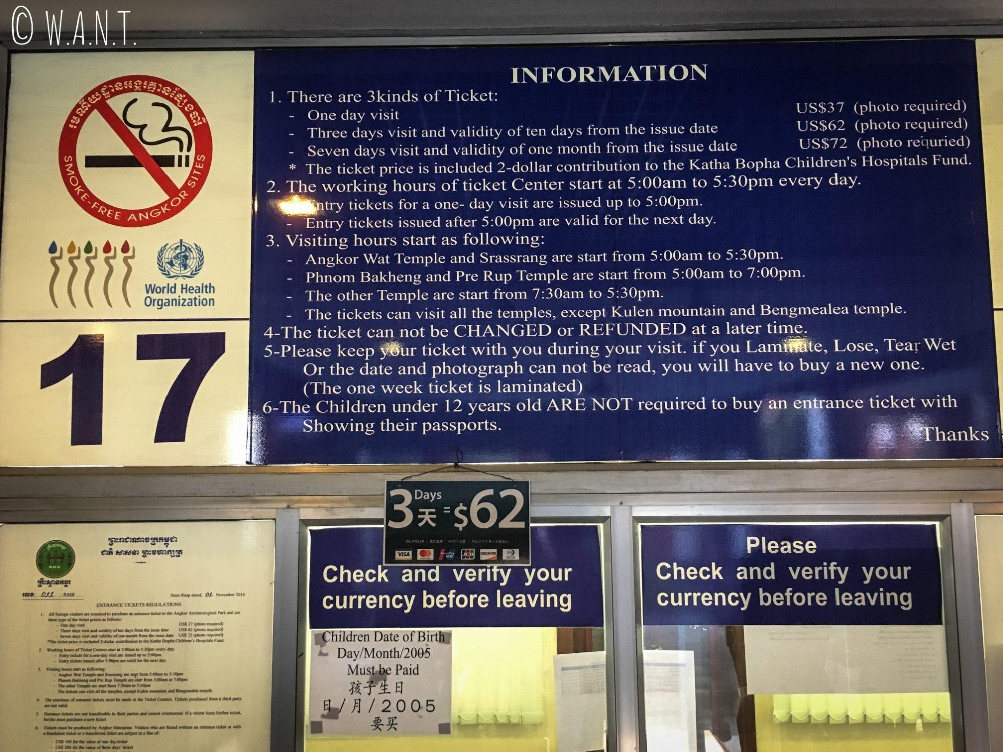 Panneau explicatif pour l'achat du pass pour visiter Angkor