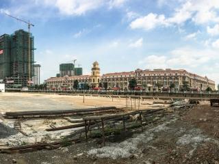 Panorama sur les chantiers de Diamond Island à Phnom Penh