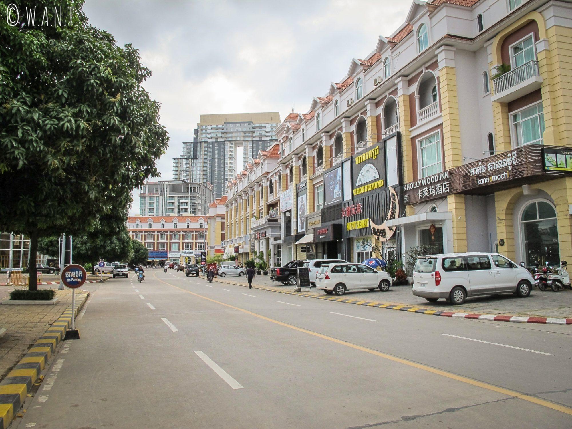 Rue de Diamond Island à Phnom Penh