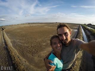 Selfie au milieu des marais salants de Kampot