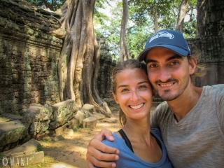 Selfie au temple Ta Phrom sur le site d'Angkor à Siem Reap