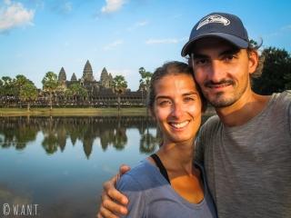 Selfie devant Angkor Wat à Siem Reap