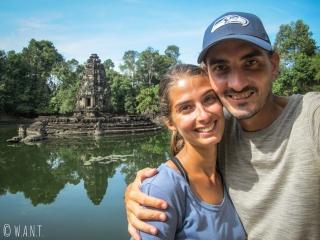 Selfie devant le temple Neak Pean à Angkor