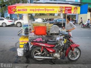 Stand de rue de jus de canne à sucre à Phnom Penh
