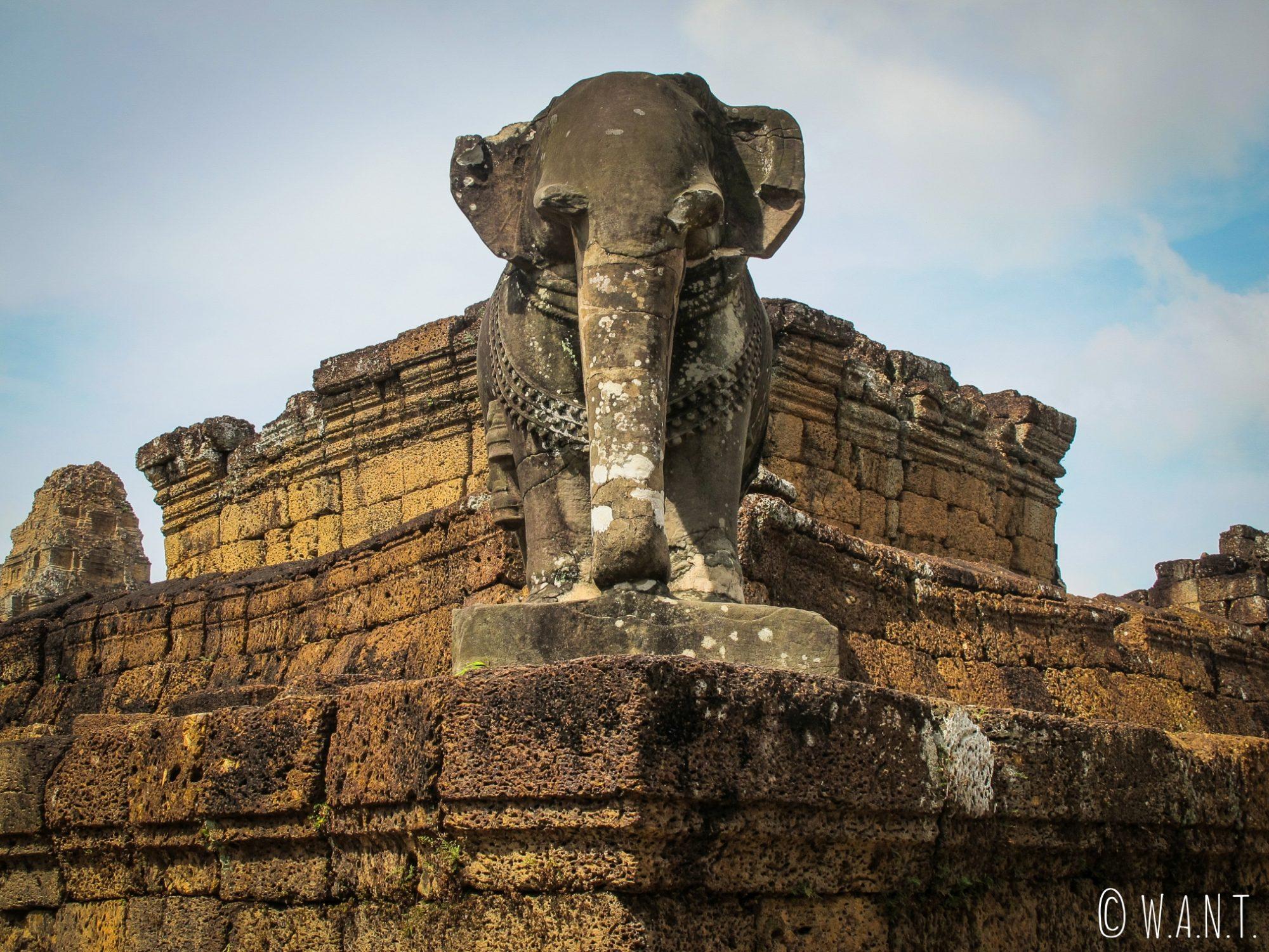 Statue d'éléphant au temple East Mebon à Angkor