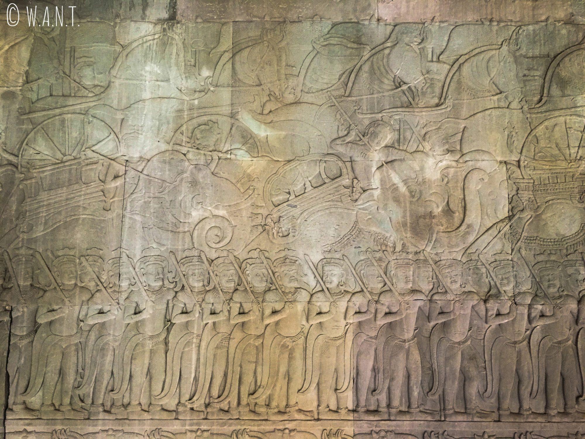 Superbes bas-reliefs d'Angkor Wat à Siem Reap