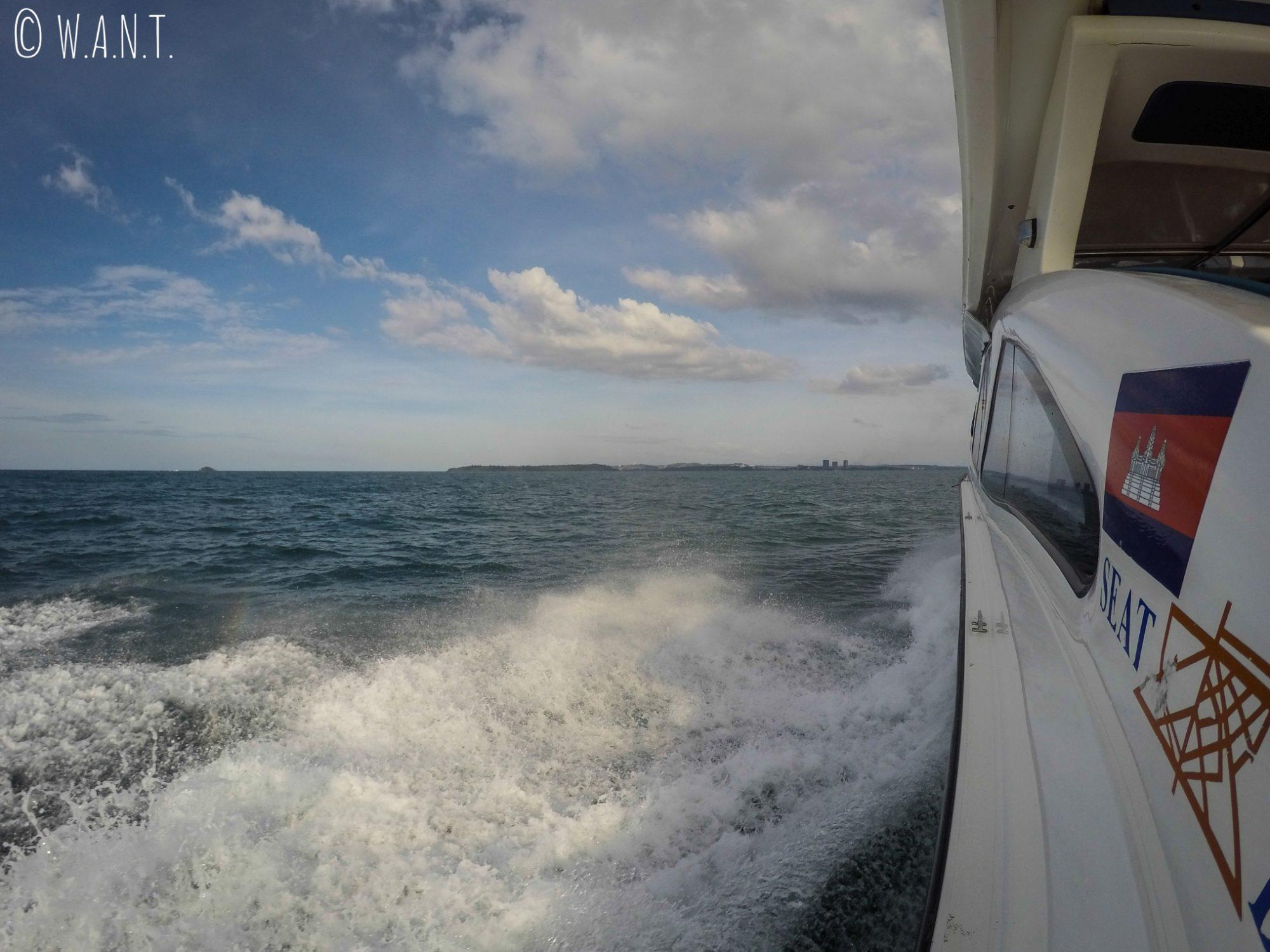 Vue depuis le speedboat nous conduisant de Koh Rong Sanloem à Sihanoukville