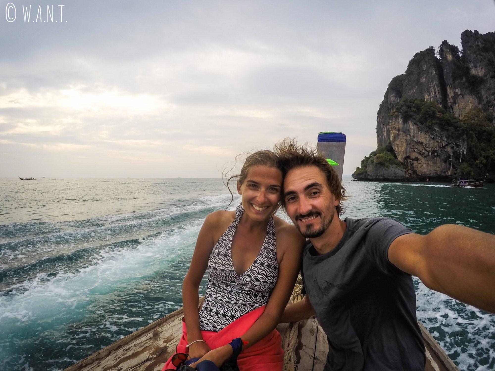 Selfie à bord de notre longtail boat à Krabi