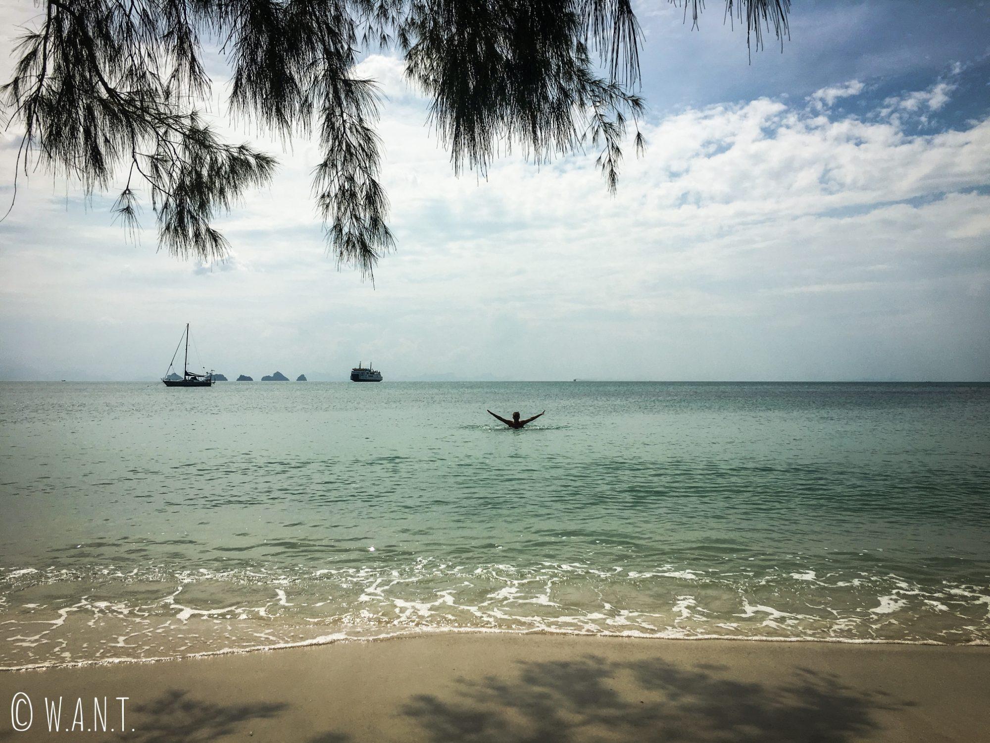 Vue depuis la plage de Lipa Noi à Koh Samui