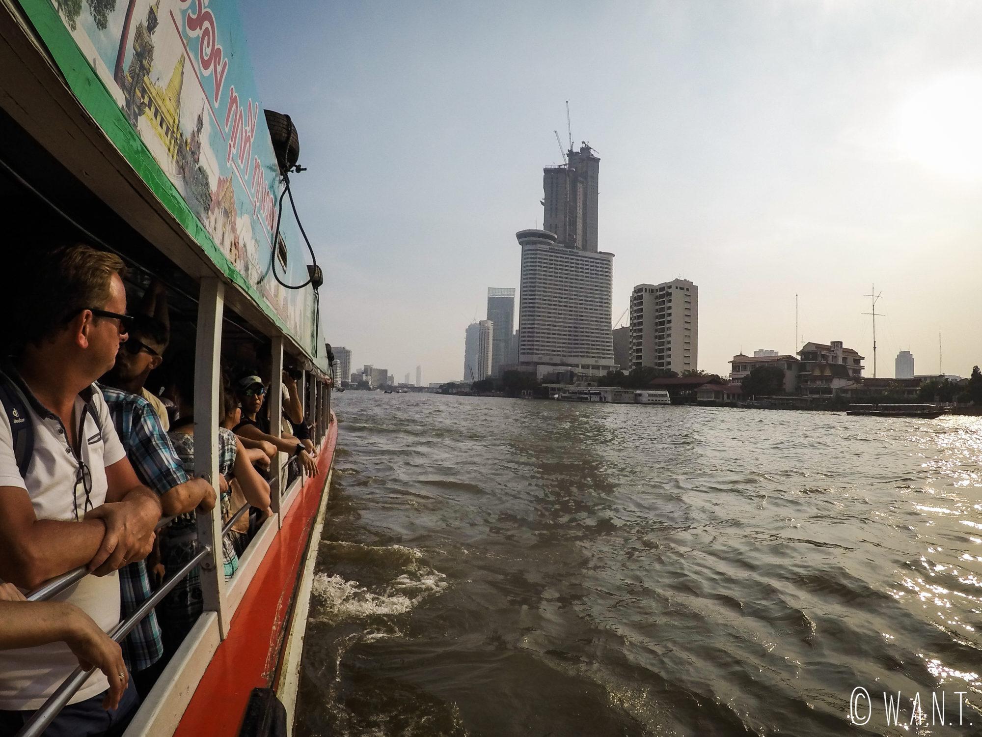 A bord du bateau express sur le Chao Phraya