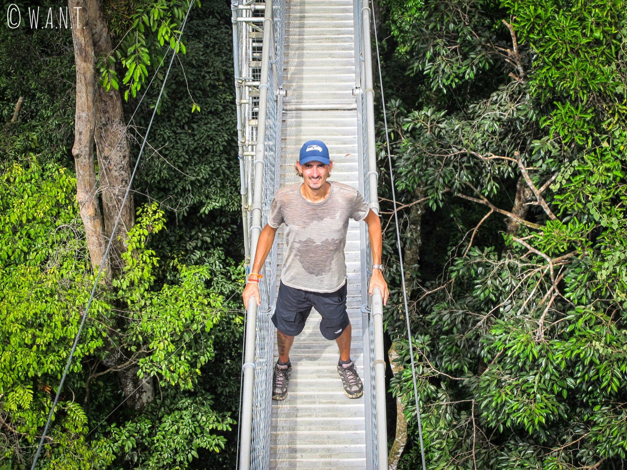 Benjamin sur un pont suspendu au Parc national Ulu Temburong du Brunei